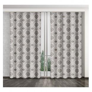 Sivý elegantný záves na okno so vzorom