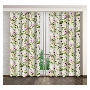 Matný záves na okno v krémovo zeleno fialovej farbe s kvetinovým vzorom