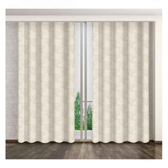 Lesklý krémový záves na okno s elegantným vzorom