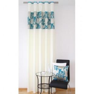 Elegantný krémový záves na okno s tyrkysovým vzorom