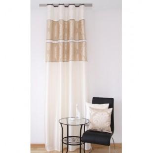 Elegantný krémový záves na okno s béžovo hnedým vzorom