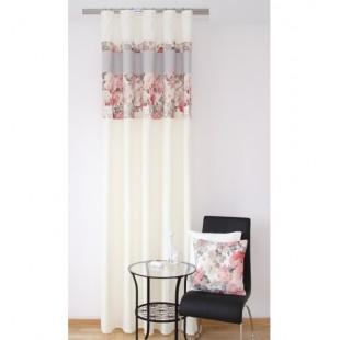 Vintage krémovo sivý záves na okno s červeno ružovým kvetinovým vzorom