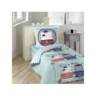 Modré chlapčenské posteľné obliečky z bavlny s motívom mačky