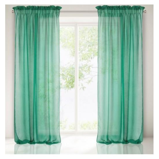 Smaragdovo zelený priehľadný záves na okno s tunelovým zavesením