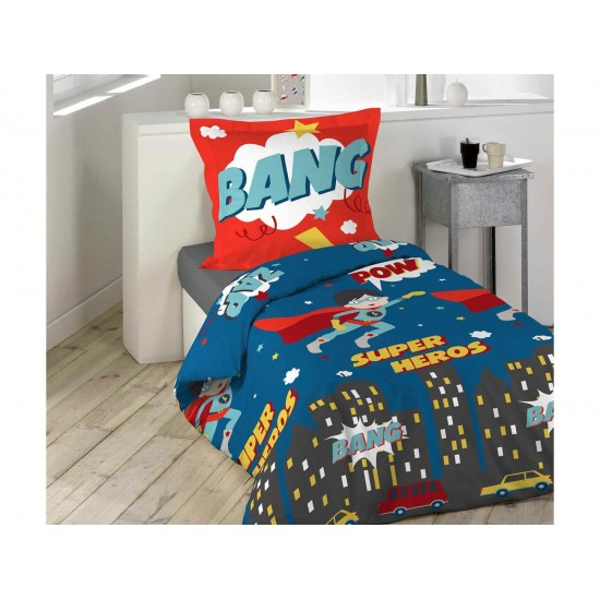 Červeno modré detské posteľné obliečky SUPER HEROS