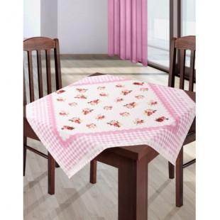 Krémovo rúžový obrus na stôl s kvetinovým vzorom