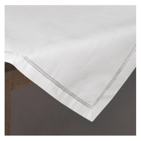 Bielo strieborný dekoračný obrus na stôl