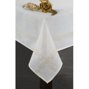 Krémový dekoračný obrus na stôl so zlatými niťami