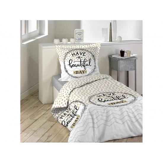 Bodkované posteľné obliečky na jednolôžko HAVE A BEAUTIFUL DAY