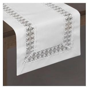 Biely elegantný behúň na stôl s ozdobným čipkovaným pruhom