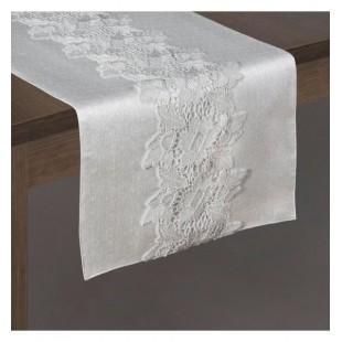 Strieborný elegantný behúň na stôl so stredovým čipkovaným pruhom