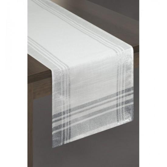 Biely elegantný behúň na stôl so strieborným zakončením