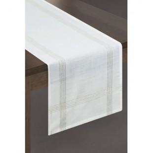 Krémový bavlnený behúň na stôl so zlatým zakončením