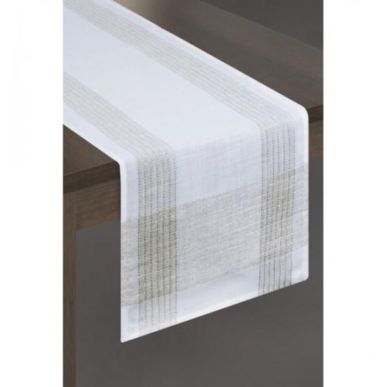 Elegantný dekoračný behúň na stôl v bielo striebornej farbe