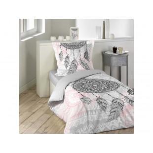 Ružovo sivé posteľné obliečky vzor NAMASTE