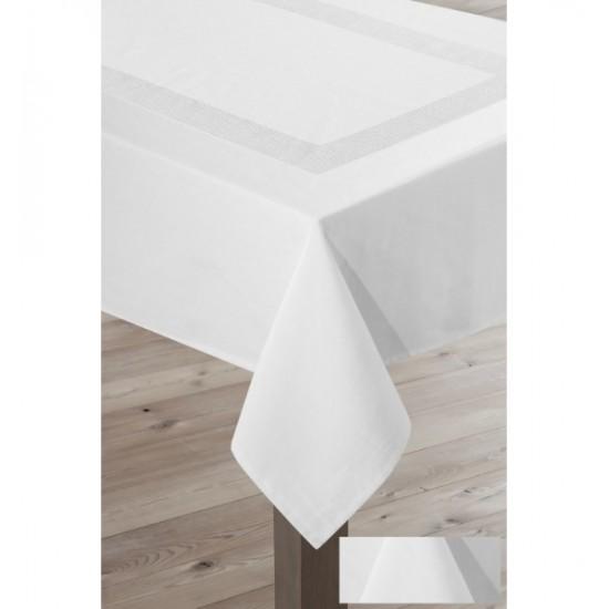 Biely štvorcový dekoračný obrus so striebornými pásmi