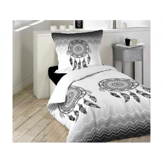 Bieločierne bavlnené posteľné obliečky s motívom lapača snov