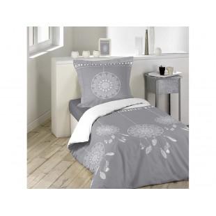 Štýlové sivé posteľné obliečky z bavlny s lapačmi snov