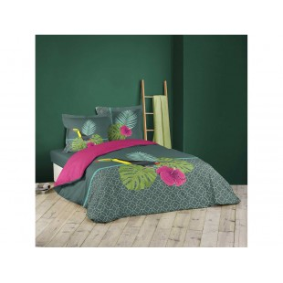 Posteľné bavlnené prádlo sivo ružovej farby s exotickým motívom