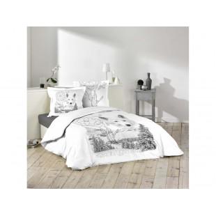 Biele bavlnené posteľné obliečky SPIRIT OF NATURE