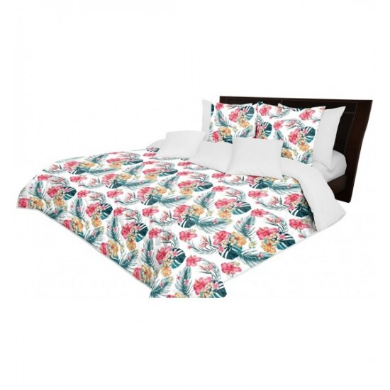 Sivý obojstranný prehoz na posteľ s motívom farebných exotických kvetov