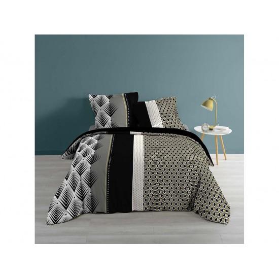 Čiernosivé bavlnené posteľné obliečky so vzormi