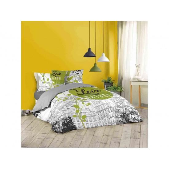 Zeleno sivé posteľné bavlnené obliečky GREEN PARIS