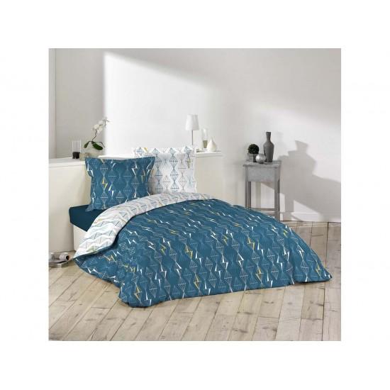 Obojstranné bavlnené posteľné obliečky tmavomodré so vzorom