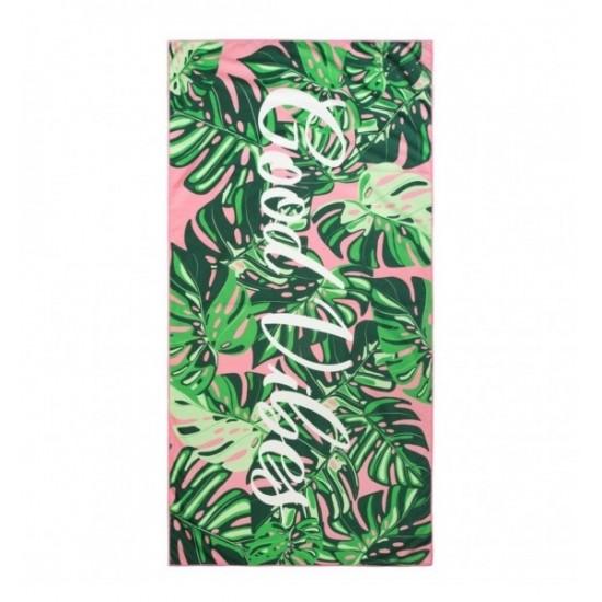 Zeleno ružová plážová osuška GOOD VIBES