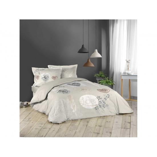 Vintage svetlohnedé posteľné obliečky LOVE