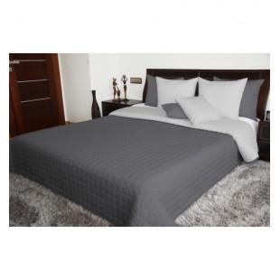 Prehoz na posteľ s prešívaným štvorčekovým vzorom v odtieňoch sivej farby