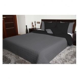 Čierno sivý obojstranný prehoz na posteľ s prešívaným štvorčekovým vzorom