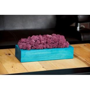 Fialová machová dekorácia v tyrkysovom drevenom kvetináči