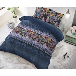 Vzorované modré posteľné obliečky s kvetmi