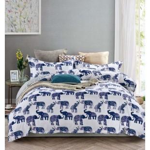 Modro biele obojstranné posteľné obliečky s motívom slonov
