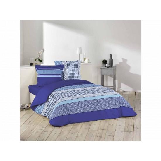 Modré vzorované posteľné obliečky z bavlny