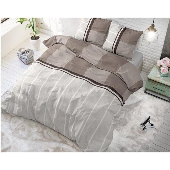 Hnedo béžové pruhované posteľné obliečky