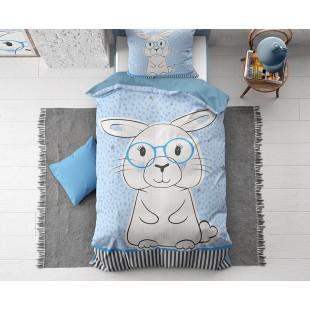Svetlomodré detské posteľné obliečky so zajačikom