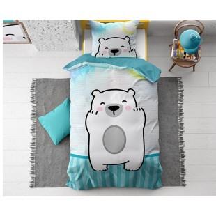 Modré bavlnené posteľné obliečky pre deti s mackom