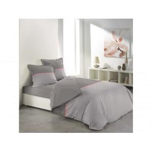 Sivo hnedé vzorované posteľné návliečky na dvojpaplón s ružovým pruhom