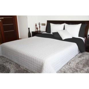 Čierno biely obojstranný prehoz na posteľ s prešívaným štvorčekovým vzorom
