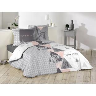 Ružovo sivé bavlnené posteľné obliečky 200x220 NEW YORK