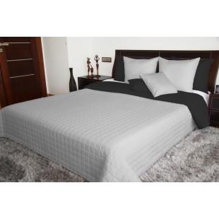 Čierno sivý obojstranný prehoz na posteľ s prešívaním