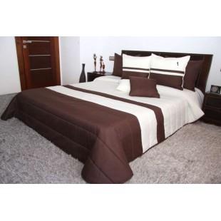 Krémovo hnedý prešívaný prehoz na posteľ
