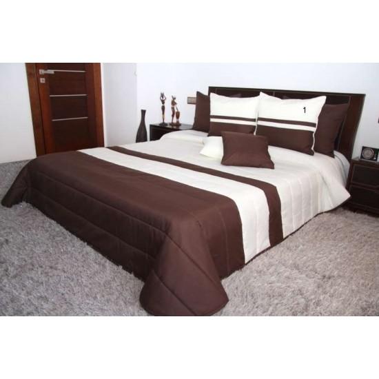 Hnedo-krémový pruhovaný prešívaný prehoz na posteľ