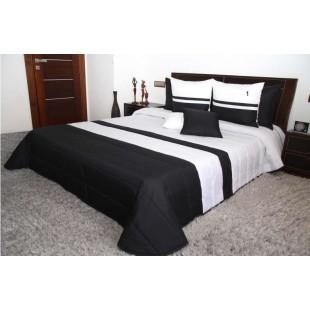 Čierno-biely pruhovaný prešívaný prehoz na posteľ