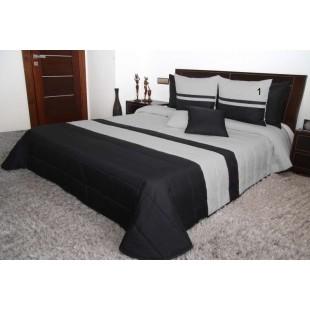 Čierno sivý prešívaný dekoračný prehoz na posteľ