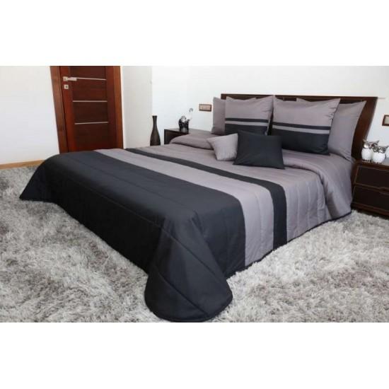 Čierno tmavosivý prešívaný dekoračný prehoz na posteľ