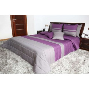 Fialovo sivý prešívaný dekoračný prehoz na posteľ