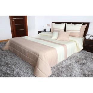 Krémovo béžový prešívaný dekoračný prehoz na posteľ